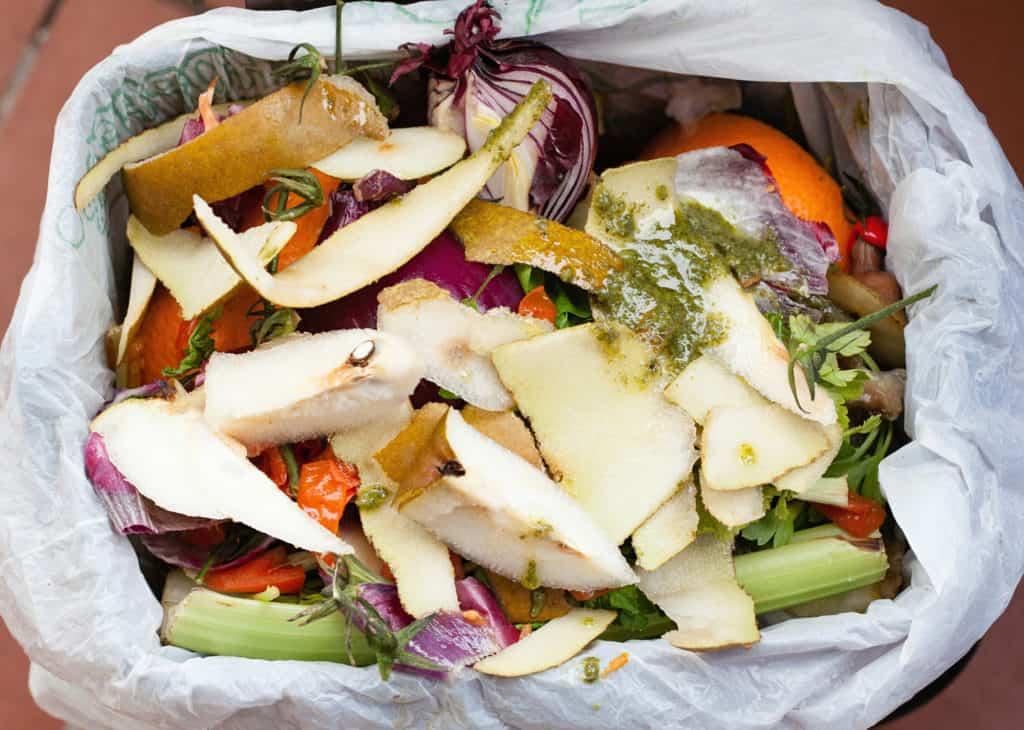 Komposteimer mit Abfall