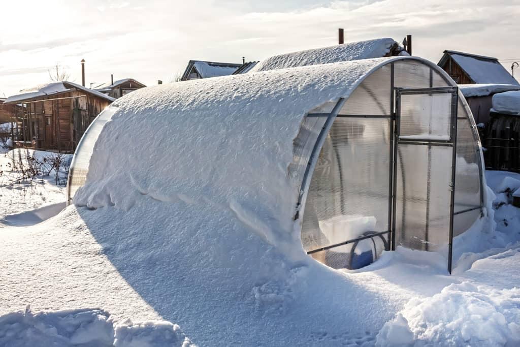 Gewächshaus Polycarbonat Einheit im Schnee